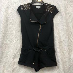 3/$20 Super cute black dressy romper w/ gold studs